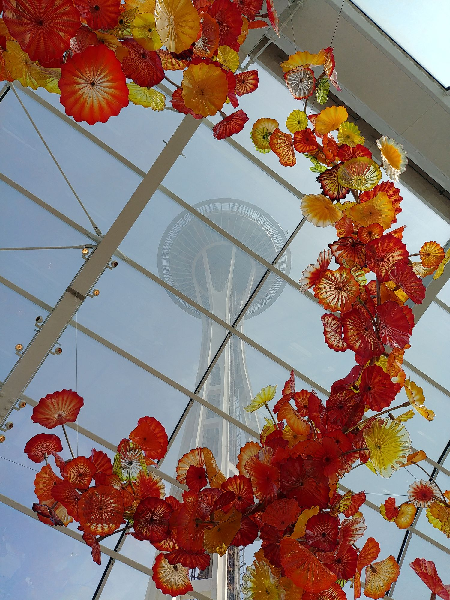 Chihuly Glass and Garden - 75 - Flowers and Space Needle